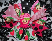 """Hair Candy """"Strawberry Shortcake"""" Inspired Strawberry Pink, Hot Pink and Lime Boutique Style Hairbow"""