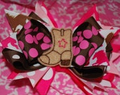 """Divalicious """"Cowgirl"""" Light Pink and Brown Cowgirl Boutique Style Hairbow"""