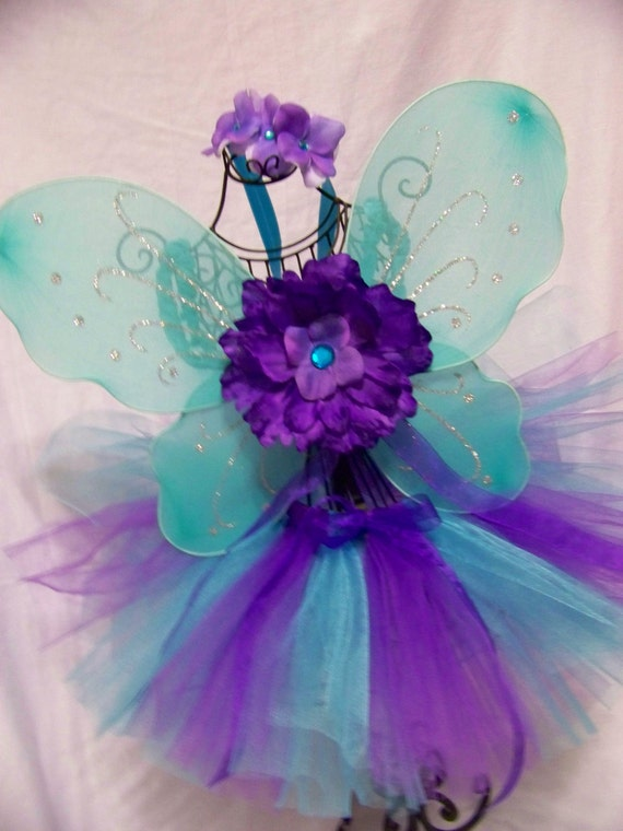 READY2SHIP Berry Cotton Candy Sparkle Tutu with Fairy Wings size 12-24 months