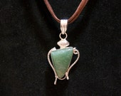 Free Shipping -Sterling Silver Pendant on Leather Necklace