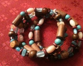 Free Shipping -Beaded Coil Bracelet- Natural Wood and Turquoise