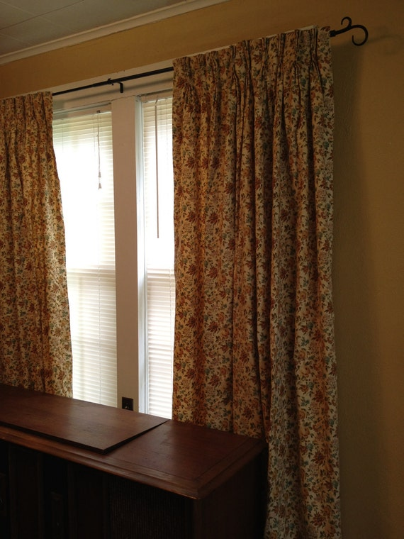 Reserved for peggyanncenter, Vintage curtain panels with floral ...