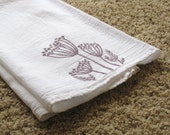 Kitchen Towel, block print, dill flowers in lavender (made to order)