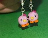 pink duckling earrings