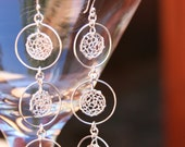 "Sterling Silver ""Wild Circles"" Hand Knit Earrings...Handmade Wire Wrapped Jewelry"