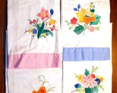Set of four Retro Hand Embroidered Colorful, Dish Towels with Pink, Blue, Orange & Yellow Flowers