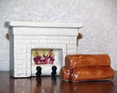 Unique Vintage Fireplace and Logs Ceramic Salt and Pepper Shaker Set
