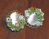 80's Vintage Green Clip On Earrings, Floral, Opaque, Gold