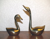 Vintage, Retro Pair of Brass Swans