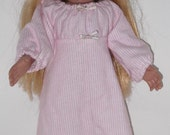 18 inch Doll Clothes    Pink and White Stripe Flannel Nightgown  Anerican Girl size