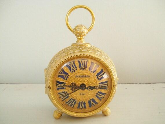 Vintage Clock Gold Bucherer Swiss Travel Alarm 8 Day Mantle