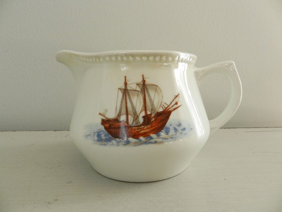 RESERVED for Collette Nautical Porcelain Pitcher by PK Unity Germany 1930s