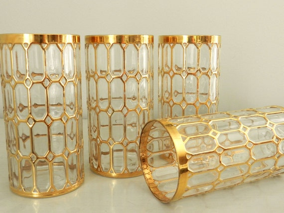 Vintage Imperial Glass Tumblers Spanish Windows Shoji Gold