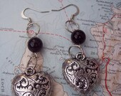 Silver and black heart earrings - charm- glass bead- heart - celtic - dangle- sale