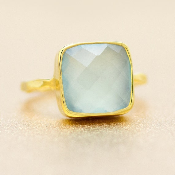 Sea Blue Chalcedony and 18k Gold Vermeil Ring - Gemstone Ring - Available in size 8, 8.5 and 9