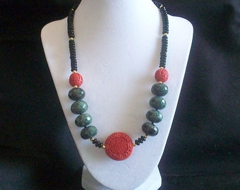 Exotic South African Turquoise and Cinnabar Necklace