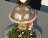 Amanita Mushroom Sculpture with Owl nesting on top Christmas Birthday Gift home decor seasonal decor