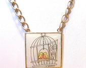 Lovebirds in birdcage Pendant original watercolor under resin pendant  Birthday Christmas Gift original artwork work of whimsy