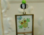 Funny Owl Original watercolor art pendant with ribbon - Valentine or Spring Gift