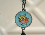 Funny Owl Art Pendant watercolor painting under resin - Perfect Gift