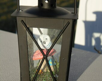 Black Lantern Terrarium Snow Owl Red Amanita Mushroom Birthday Christmas Gift Moss base home decor