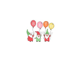 Garden Gnomes with 4 Balloons Personalized Name Print childs room decor babys room decor Christmas Birthday Gift home decor seasonal decor