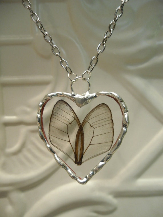 Heart Shaped Real Butterfly Wing Necklace - Hand Soldered - Valentine or Spring Gift