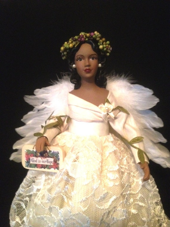 Ivory African American Treetop Angel - Christmas Angel - in Lace for Home Decor and the Holidays