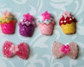 Miniature Cupcakes and Bows Flat Back Cabochons (set of six) - Free Shipping