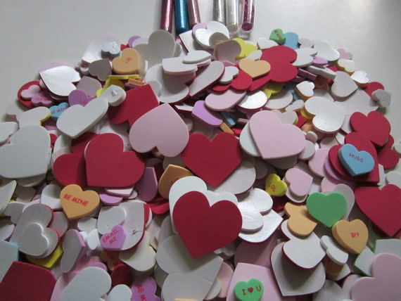 """DIY Valentines Day """"SweetHearts"""", Sticker Foam Hearts, With Glitter"""
