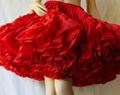 Bombshell Red Petticoat / Rockabilly Swing / Crystal Nylon Crinoline / by Fendler / Circa 70s 80s