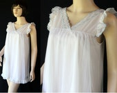 Vintage Peignoir Set / Baby Doll Lingerie / Sheer Nylon / by Miss Elaine / Circa 60s 70s