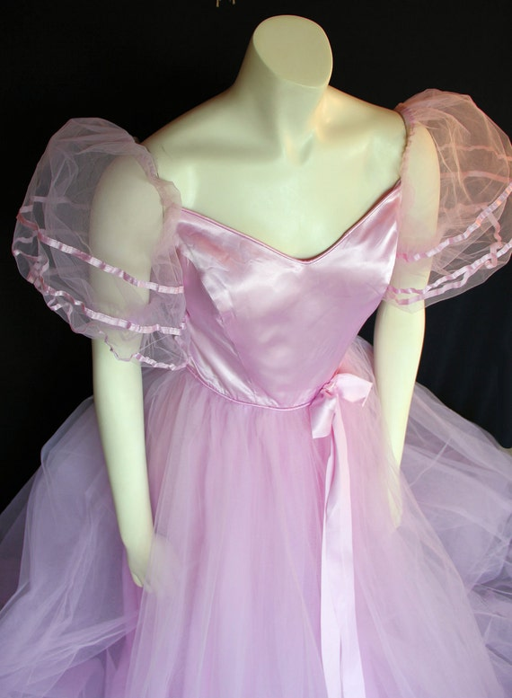 70s Prom Dress / Princess Cut / Pink Wedding / Tulle and Satin / Union Label