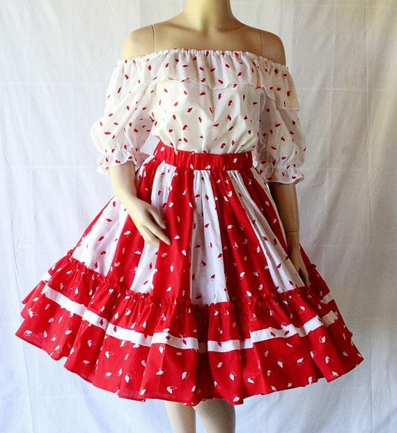 Rockabilly Dress / Bombshell Red / Circle Skirt Separates / Dance Costume / Delightful Frocks