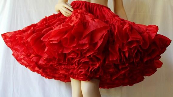 Bombshell Red Petticoat Rockabilly Swing Crystal Nylon