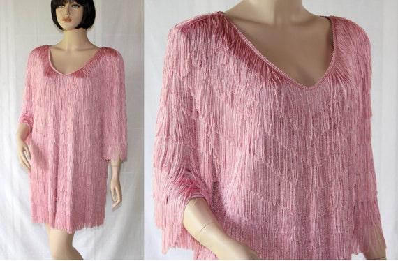 Vintage Flapper Dress / Mini Dress / Pink Fringe / Circa 80s / Nightworks