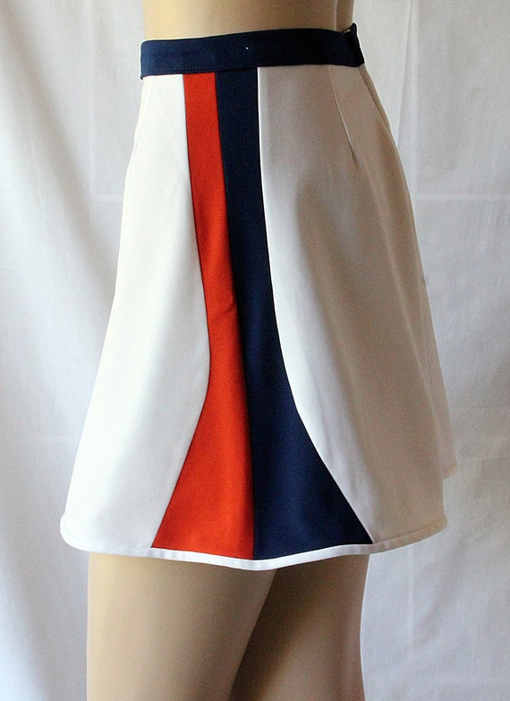 70s Mini Skirt / Red White Blue / Tennis Skirt / Patriotic / Sporty FUN / By Simonetta