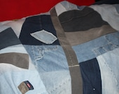 "RESERVED FOR SUNSHINE - Reversible twin size denim blanket made to order 50"" X 80"""
