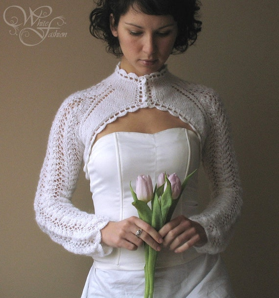 BRIDAL SHRUG wedding bolero long sleeves turtle-neck cream color knitted size L - custom order