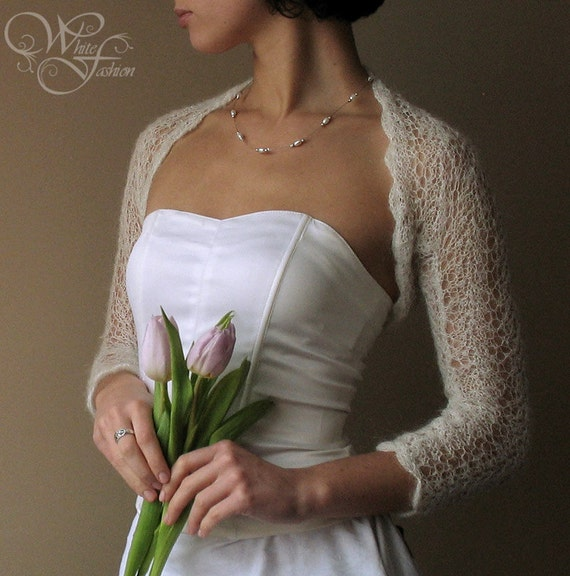BRIDAL SHRUG wedding bolero light as a cloud mohair color natural white