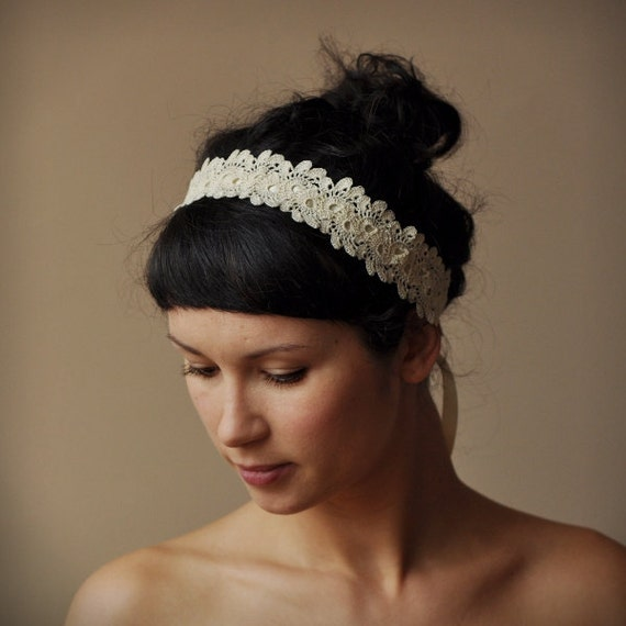 BRIDAL HAIR BAND Wedding Hair Accessory Crochet Lace Lacy