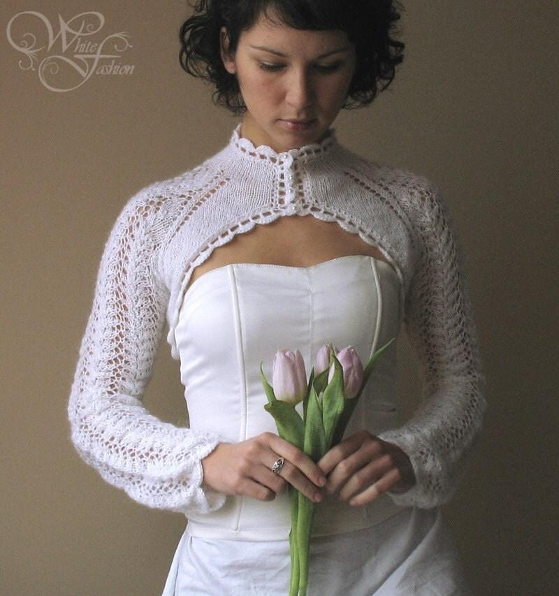 Long Sleeved Shrug Knitting Pattern : BRIDAL SHRUG wedding bolero long sleeves turtle-neck cream