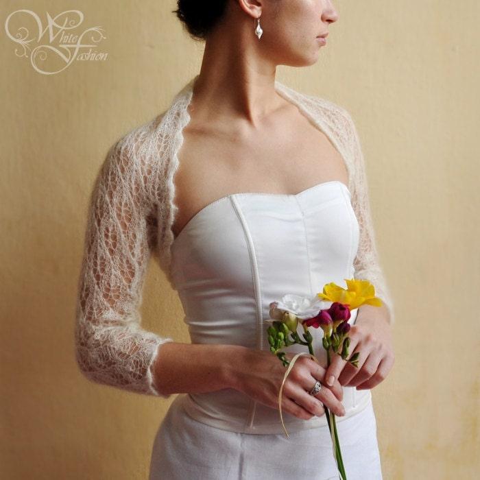 BRIDAL SHRUG wedding bolero light as a cloud color cream lace