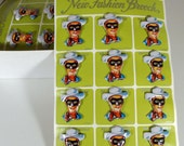 Vintage Display Card With 12 Lone Ranger Badges By KTS Of Japan, Mint On Card