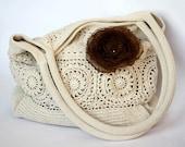 CUSTOM ORDER for  Pirate Jenny - Handbag crochet tote - off white - big Organza Flower Removable  Brooch