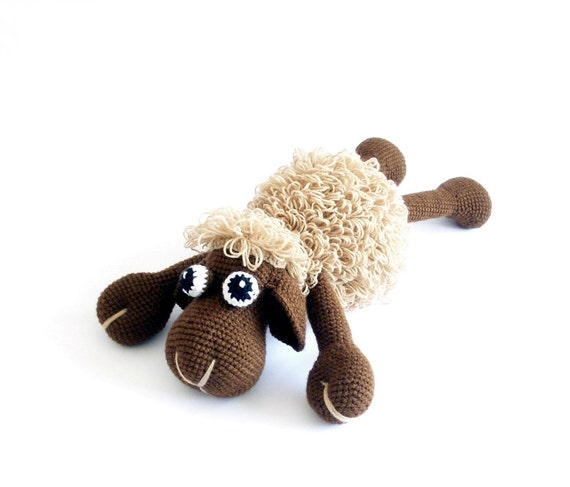 MADE TO ORDER - Sweet Sheep crocheted in beige and brown
