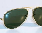 Original Vintage B&L Ray Ban AVIATORS . USA . Gold Green . 70s / 80s