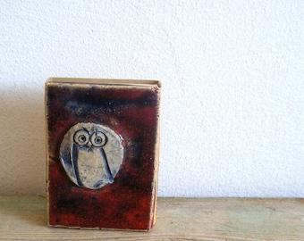 Small Vintage Ceramic Owl matchbox