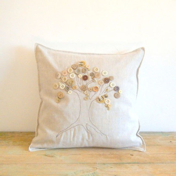 Linen Pillowslip cushion cover with Vintage button art