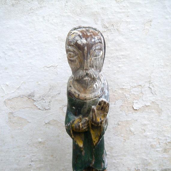 Antique Religious Statue, Hand carved primitive
